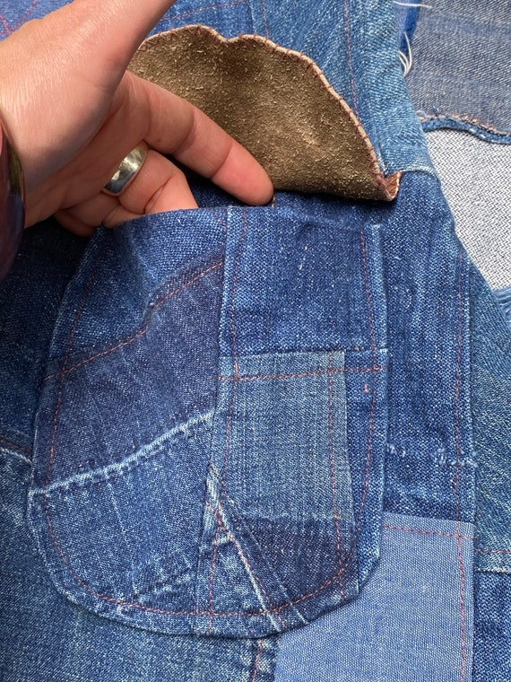 Vintage 1970s Folk Denim Jean Jacket Handmade Wes… - image 8