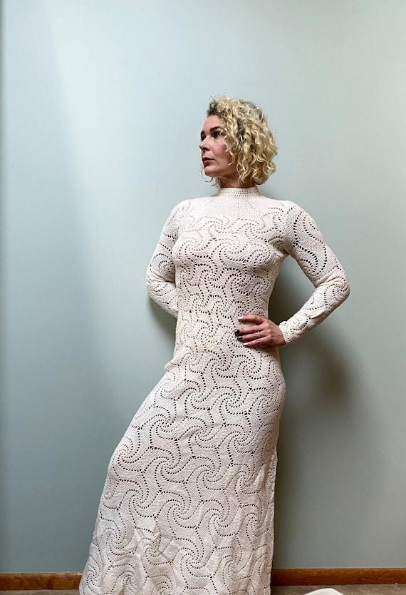 Vintage 1960s Maxi Knit Crochet Spiderweb Dress