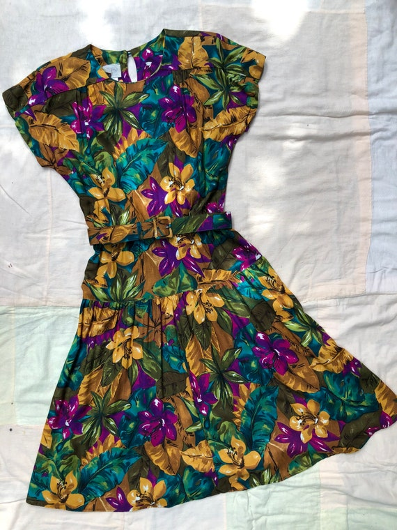 Vintage 1980s does 1940s Rayon Tropical Hawaiian T