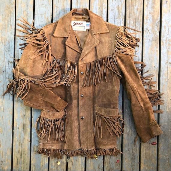 Vintage 1970s Schott Western Fringe Suede Jacket