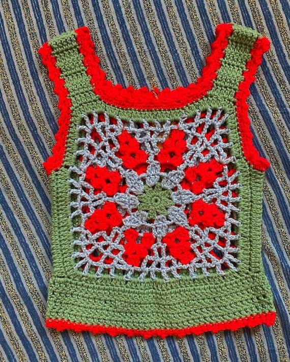 60/'s 70/'s Vintage Leather Wool Crochet Waistcoat Vest