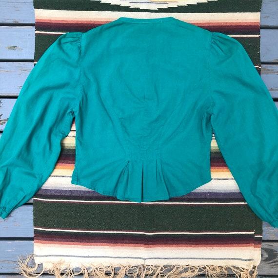 Vintage 1970s Jade Green Cotton Neo Victorian Pra… - image 3