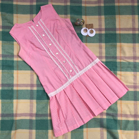 Vintage 1960s Cotton Pink Polka Dot Mod Dress Plea