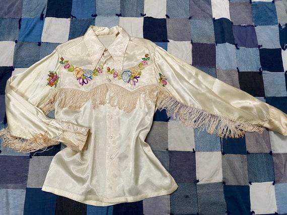 Vintage 1970s Western Embroidered Fringe Shiny Sat