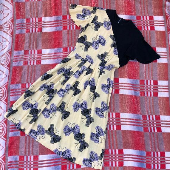 Vintage 1940s Dress Butterfly Novelty Print Colorb