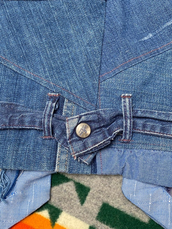 Vintage 1970s Folk Denim Jean Jacket Handmade Wes… - image 7