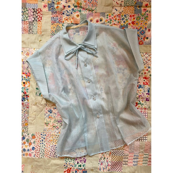 Cry Baby Baby Blue Ruffle Puff Sleeve 70/'s Vintage Blouse