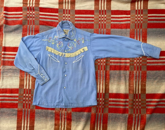 Vintage Kid's Western Shirt / 1950's Gabardine Wes