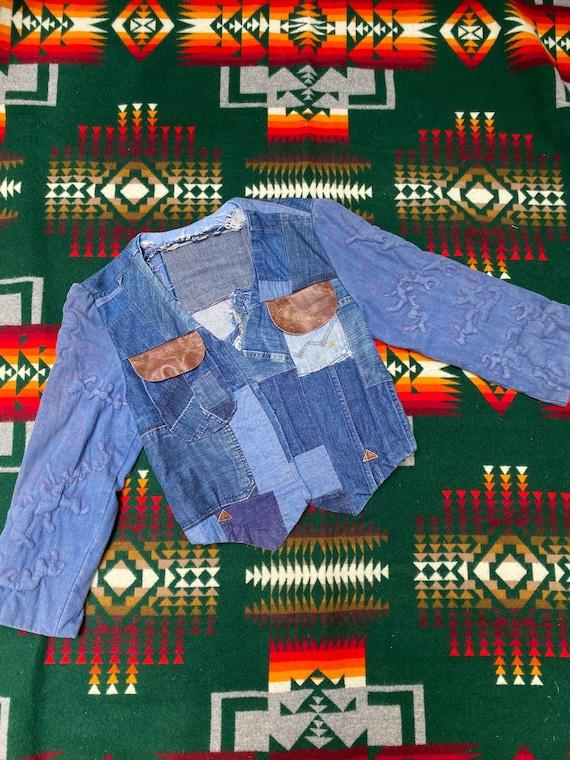 Vintage 1970s Folk Denim Jean Jacket Handmade Wes… - image 1