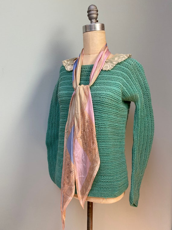 1920's Vintage Knit Wool Turquoise Sweater with Co