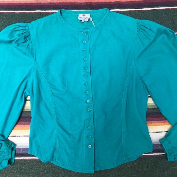 Vintage 1970s Jade Green Cotton Neo Victorian Pra… - image 2