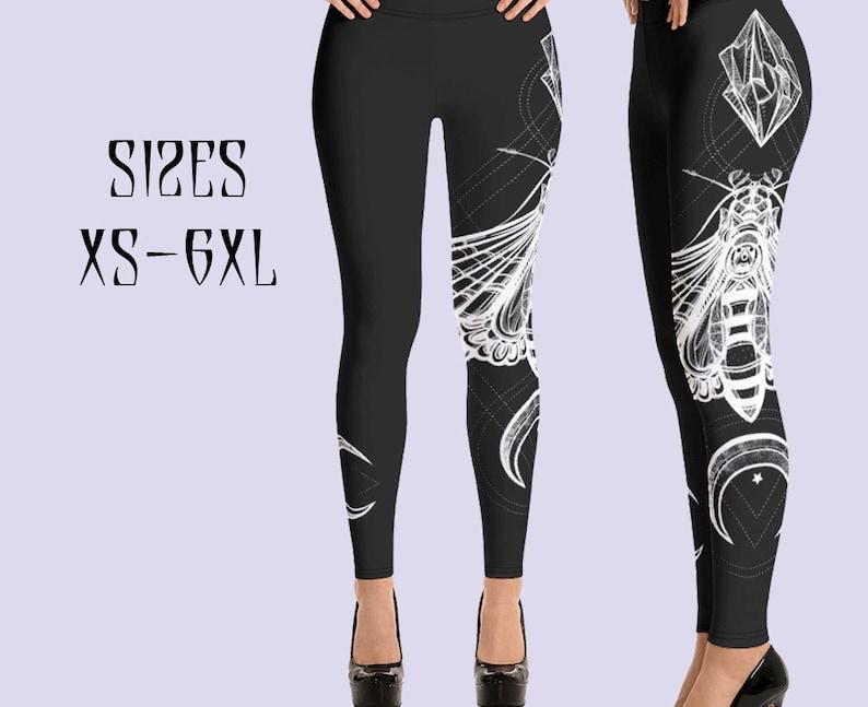 Moth /& Moon leggings Witch leggings Butterfly leggings Gothic leggings Plus Size Goth workout gym leggings Gothic clothing Wiccan clothing