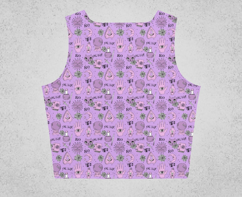 Ouija Pastel Goth Crop Top Witchy Clothing Creepy Cute Goth Top Gothic clothes Pagan Clothing Women Purple Gothic Shirt Gothic crop top