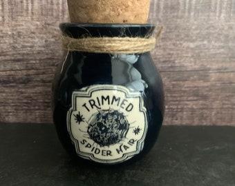 Halloween decoration, potion bottle,Halloween prop, Halloween decor, poison bottle, spider hair, apothecary jar ,handmade ceramic bottle