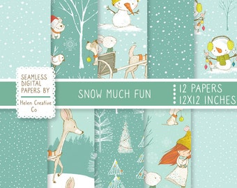 12 Seamless Christmas Papers, Winter Backgrounds, Christmas Digital Papers, Snowman, Snow,