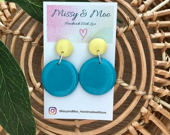 Polymer Clay yellow teal black purple multicolour dangle earring