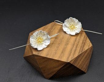 Poppy Silver Dangling Earring, Poppy Flower, Silver Dangling Earrings, Sterling Silver, Gift for her, Xmas Gift, Birthday Gift