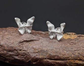 Butterfly Gold Plated Silver Stud Earrings, Butterfly Silver Stud Earrings, Sterling Silver, Gift for her, Xmas Gift, Birthday Gift