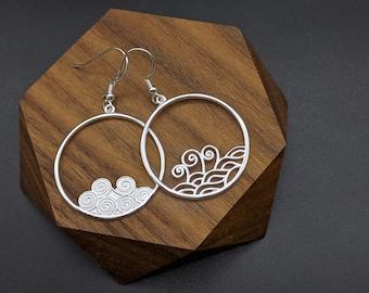 Asymmetry Ocean waves Silver Dangling Earring, Asymmetry Waves Earrings, Sea Waves Silver Earrings, Gift for her, Xmas Gift, Birthday Gift