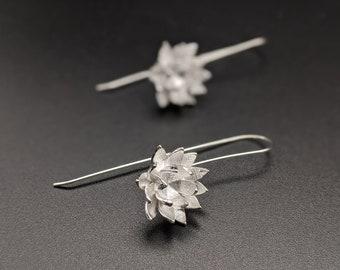 Lotus Silver Dangling Earring, Lotus Flower, Lotus Silver Earrings, Flower Silver Earrings, Gift for her, Xmas Gift, Birthday Gift