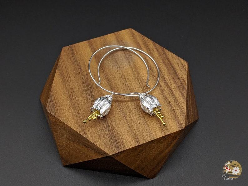 Silver Dangling Earrings Xmas Gift Bellflower Silver Dangling Earring Sterling Silver Birthday Gift Gift for her