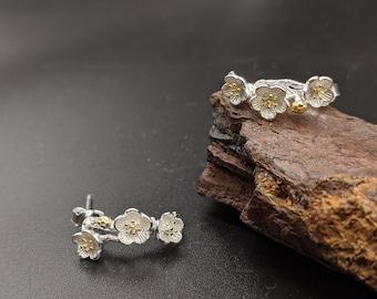 Cherry Blossom Silver Dangling Earrings, Sakura Dangling Earrings, Flower Earrings, Sterling Silver, Gift for her, Xmas Gift, Birthday Gift