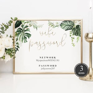 Printable in 3 Sizes 4x6 5x7 and 8x10 But First Wifi Password Sign with Safari Greenery Wifi Sign Editable Template INSTANT ACCESS