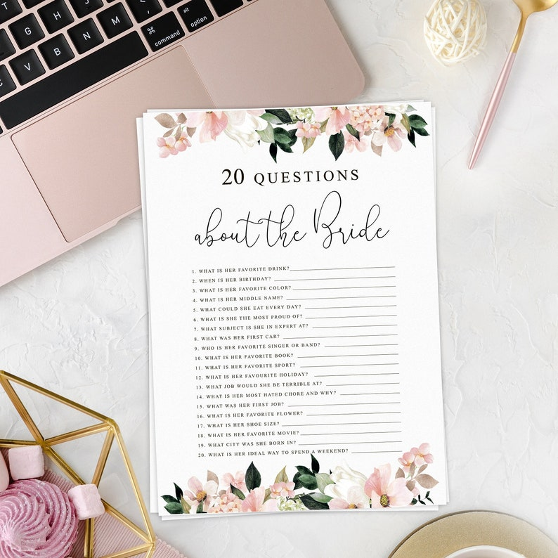 Twenty Questions Bridal Shower Game 20 Questions About the Bride Bridal Shower Game Printable Printable PDF Questions about the Bride