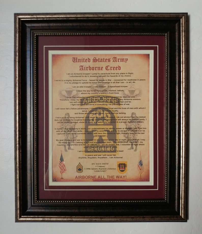 US Army Airborne Creed Framed / Matted Personalized 82nd 509th 173rd 25th  ID All Americans Paratrooper AATW