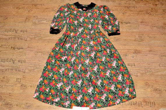 Velvet floral dress Cottagecore dress Cotton dress - image 1