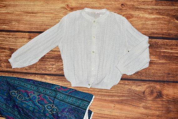 Austrian sweater vintage White cardigan