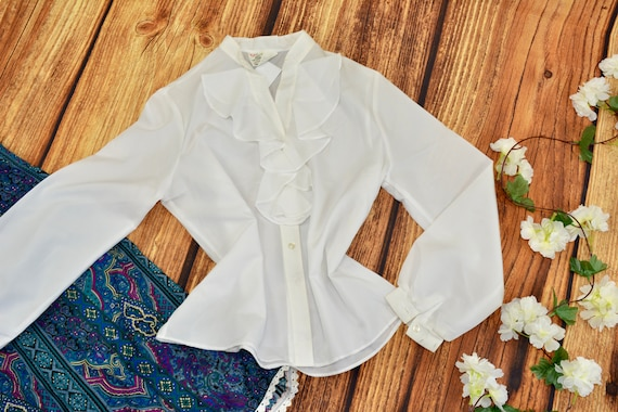 Ruffle collar blouse White blouse Vintage long sle