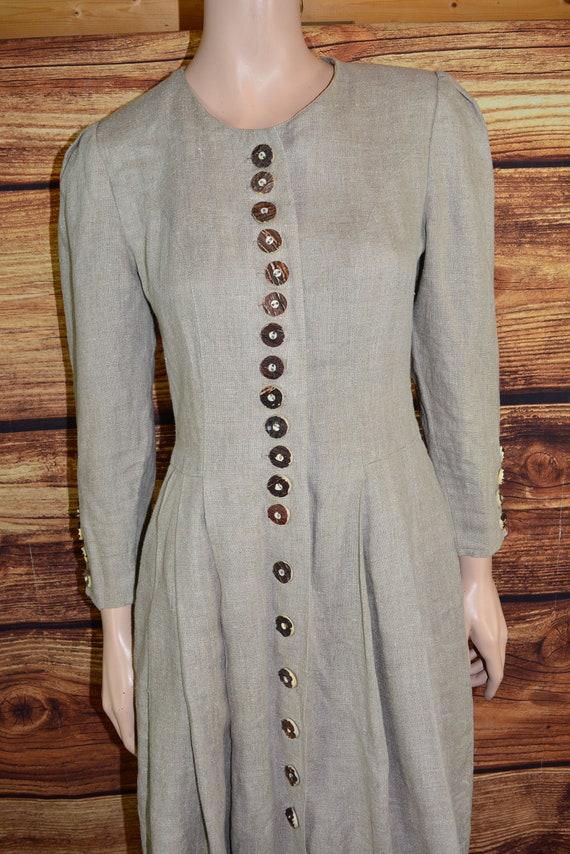 Linen cottagecore dress Long beige dirndl dress - image 6