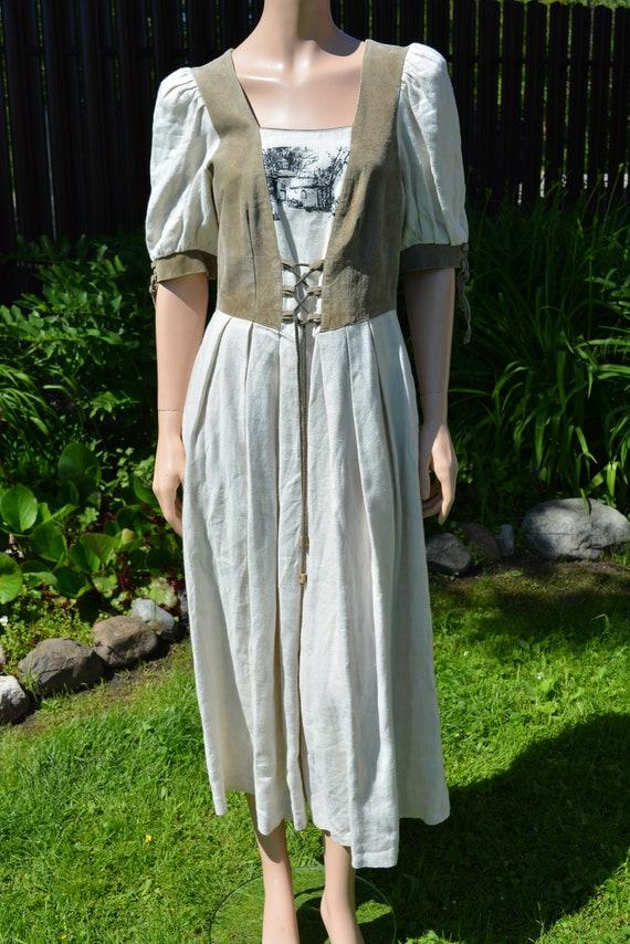 Cottagecore dress Vintage linen dirndl dress Size… - image 3