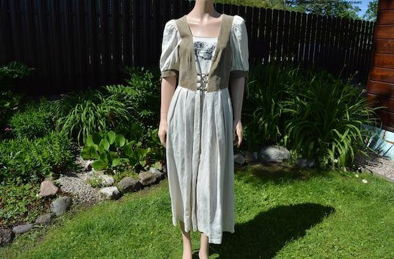 Cottagecore dress Vintage linen dirndl dress Size… - image 2