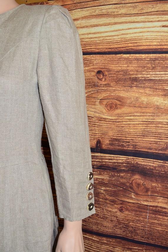 Linen cottagecore dress Long beige dirndl dress - image 4