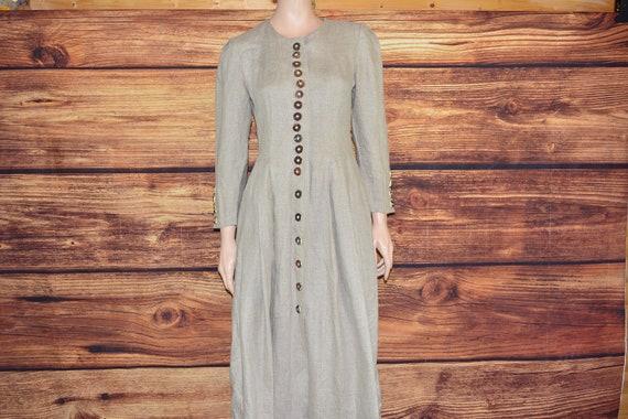 Linen cottagecore dress Long beige dirndl dress - image 1