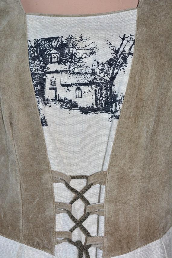 Cottagecore dress Vintage linen dirndl dress Size… - image 7