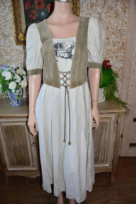Cottagecore dress Vintage linen dirndl dress Size… - image 5