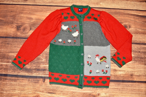 Austrian cardigan Vintage embroidered sweater