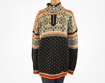 Wool vintage sweater Norwegian sweater Fair isle pullover