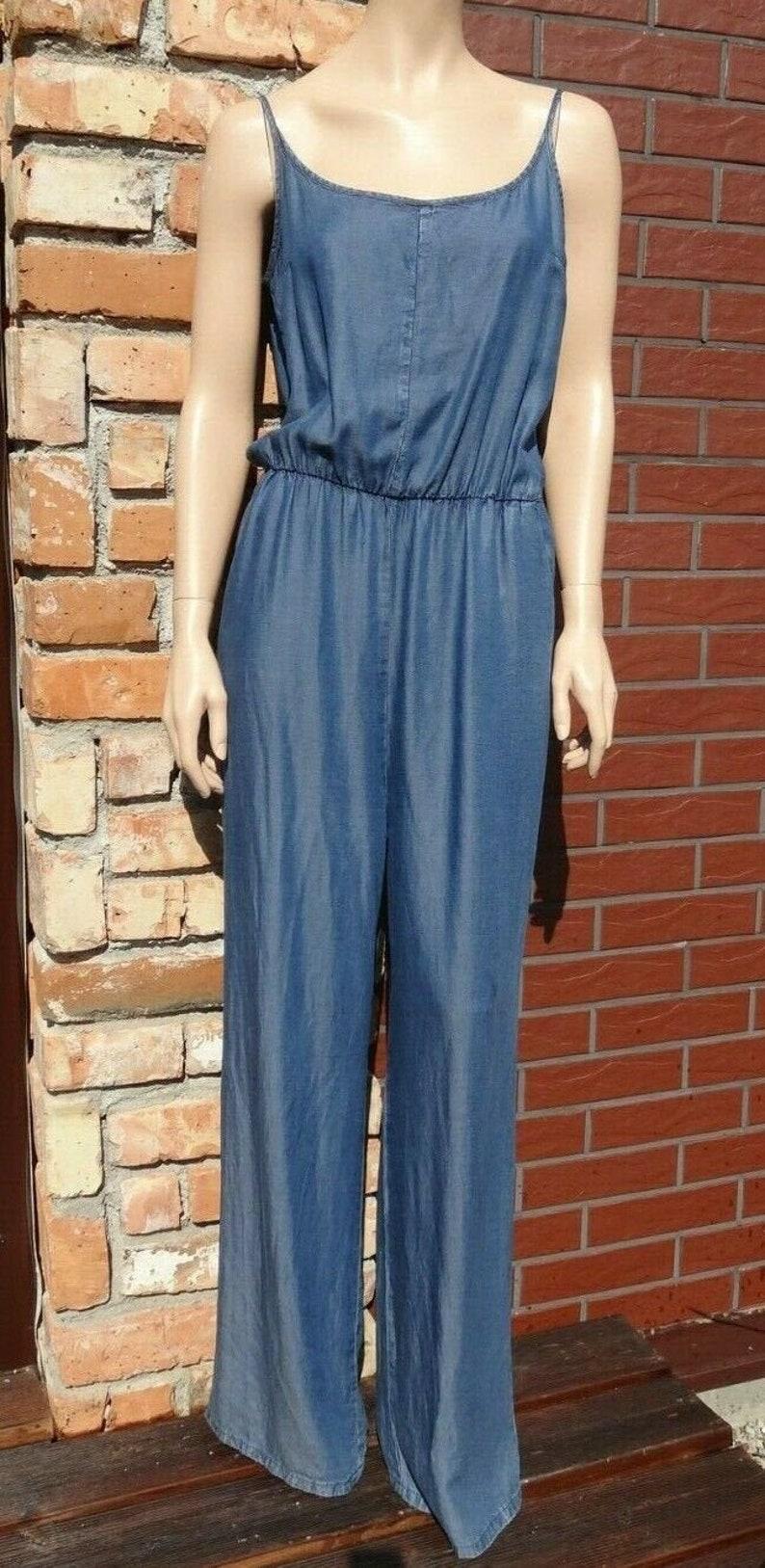 Denim jumpsuit with pockets
