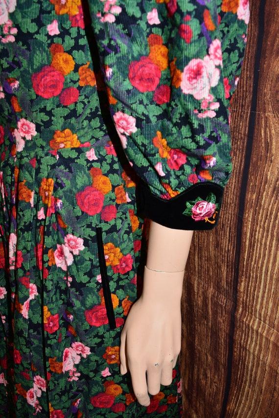 Velvet floral dress Cottagecore dress Cotton dress - image 7