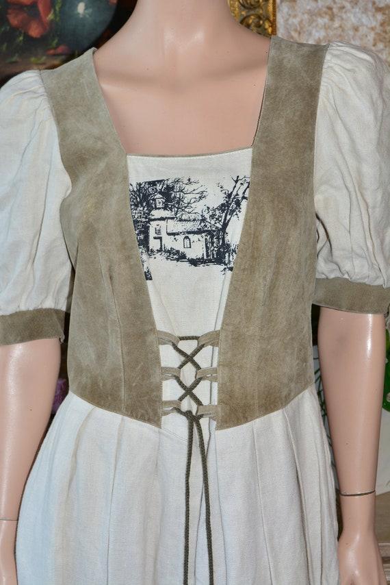 Cottagecore dress Vintage linen dirndl dress Size… - image 6