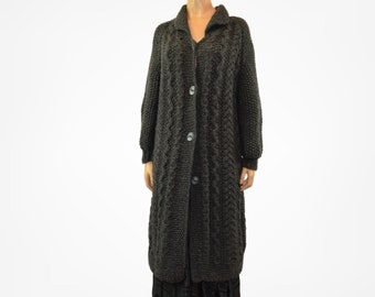 Long cardigan Black vintage knitted sweater Size M