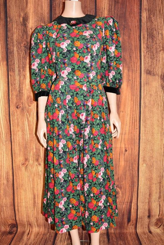 Velvet floral dress Cottagecore dress Cotton dress - image 3