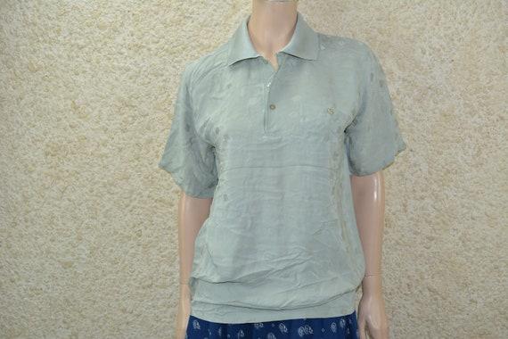 Vintage silk men's polo shirt Grey silk shirt Size