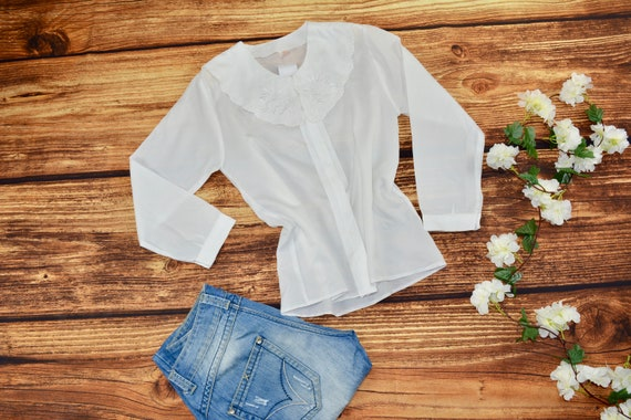 Big collar blouse Secretary blouse Vintage white b