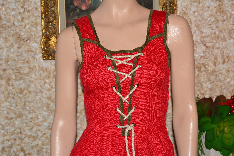 Vintage Aprons, Retro Aprons, Old Fashioned Aprons & Patterns Red Linen Dress Cottagecore Vintage Dirndl Apron $45.50 AT vintagedancer.com