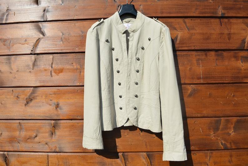 Vintage beige real leather button jacket